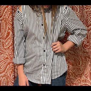 The Loretta striped open shoulder button up top